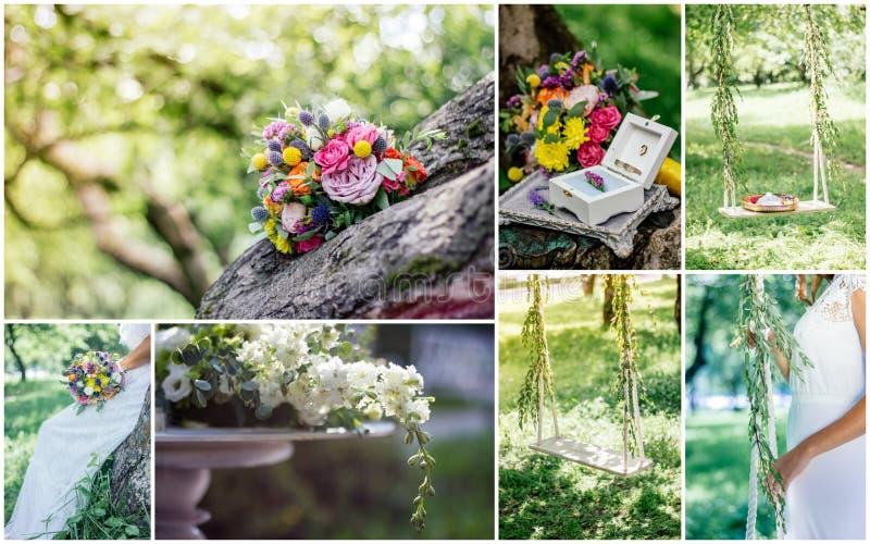 Ślubny kolaż - piękny rancho ślub na ogródzie outdoors przy wiosną lub letnim dniem zdjęcia royalty free
