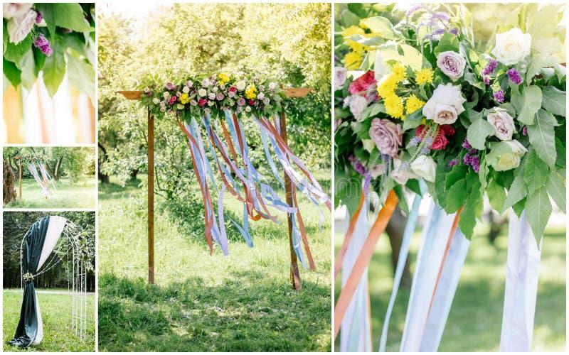 Ślubny kolaż - wyspa ślubny łuk, kwiaty i dekoracja outdoors, zdjęcia royalty free