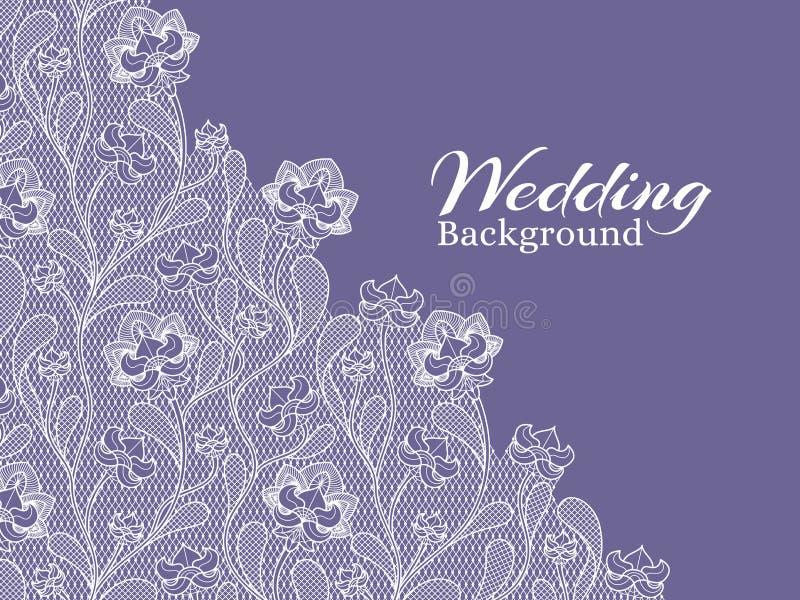 Ślubny kwiecisty wektorowy tło z koronka wzorem ilustracja wektor