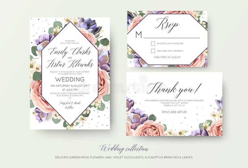Ślubny kwiecisty zaproszenie, rsvp, dziękuje ciebie karciany elegancki botanica ilustracji