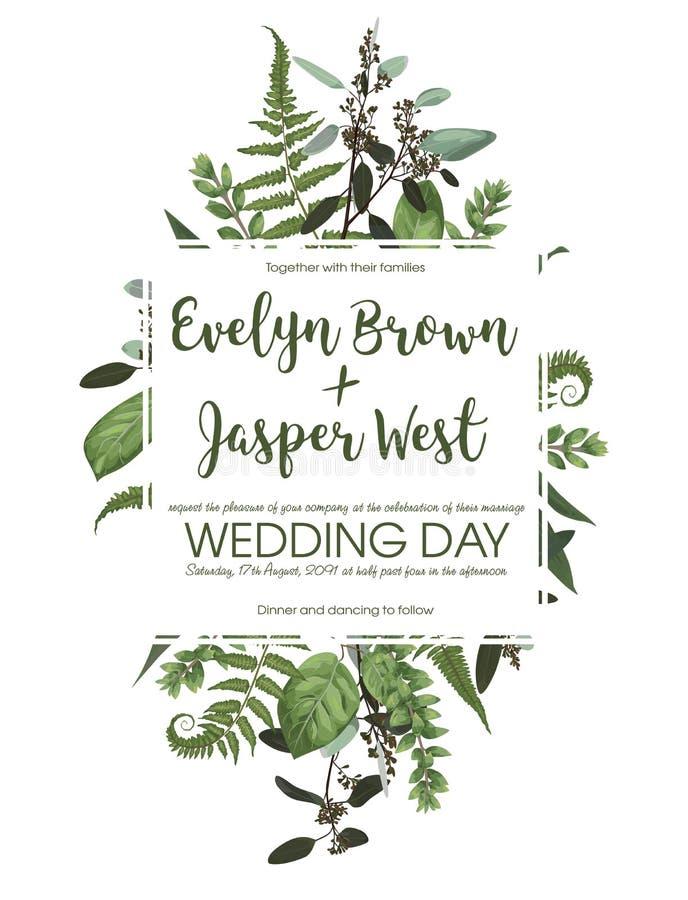 Ślubny kwiecisty zaproszenie, zaprasza kartę Wektorowej akwarela setu zieleni lasowa paproć, ziele, eukaliptus, rozgałęzia się bo royalty ilustracja