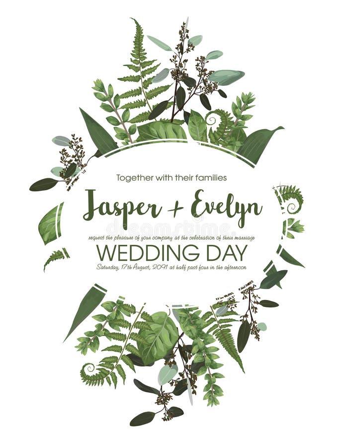 Ślubny kwiecisty zaproszenie, zaprasza kartę Wektorowej akwarela setu zieleni lasowa paproć, ziele, eukaliptus, rozgałęzia się bo ilustracja wektor