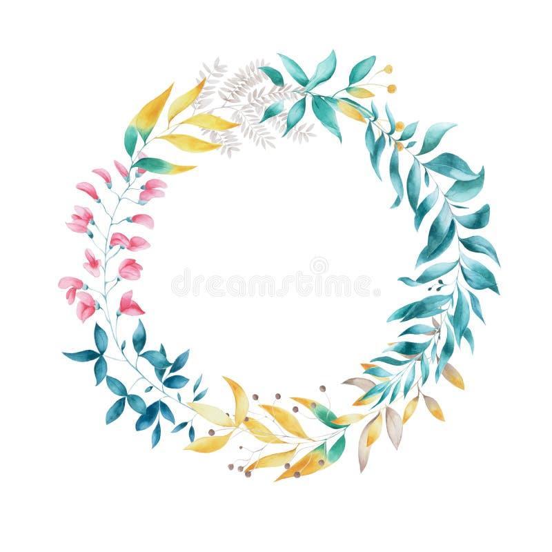 Ślubny liścia wianek ilustracja wektor