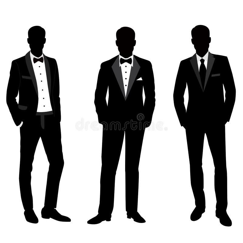 Ślubny mężczyzna ` s kostium i smoking ilustracja wektor