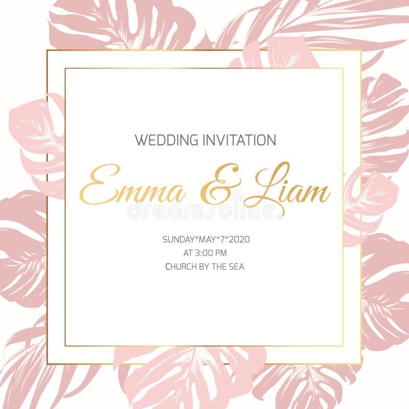 Ślubny małżeństwa wydarzenia zaproszenia granicy ramy karty szablon Różowi xxotic tropikalni dżungla tropikalnego lasu deszczoweg ilustracja wektor