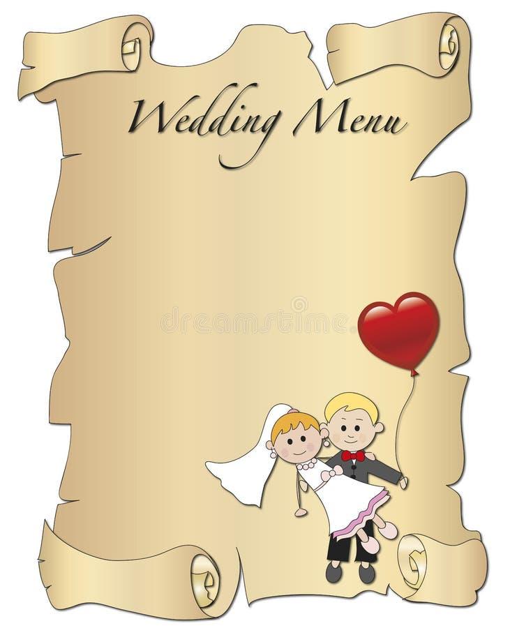 Ślubny menu ilustracja wektor