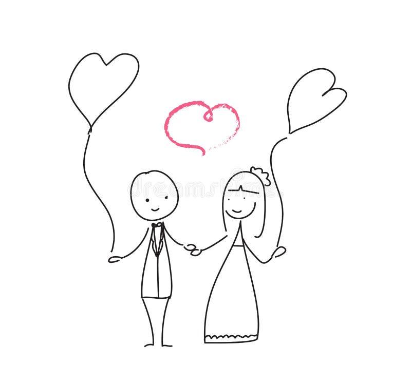 Ślubny miłości doodle ilustracja wektor