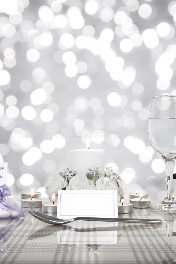 Ślubny obiadowego stołu położenie obraz royalty free