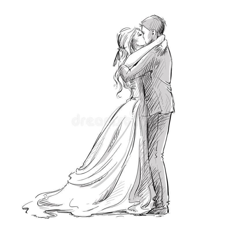 Ślubny para buziak nowożeńcy ilustracja wektor