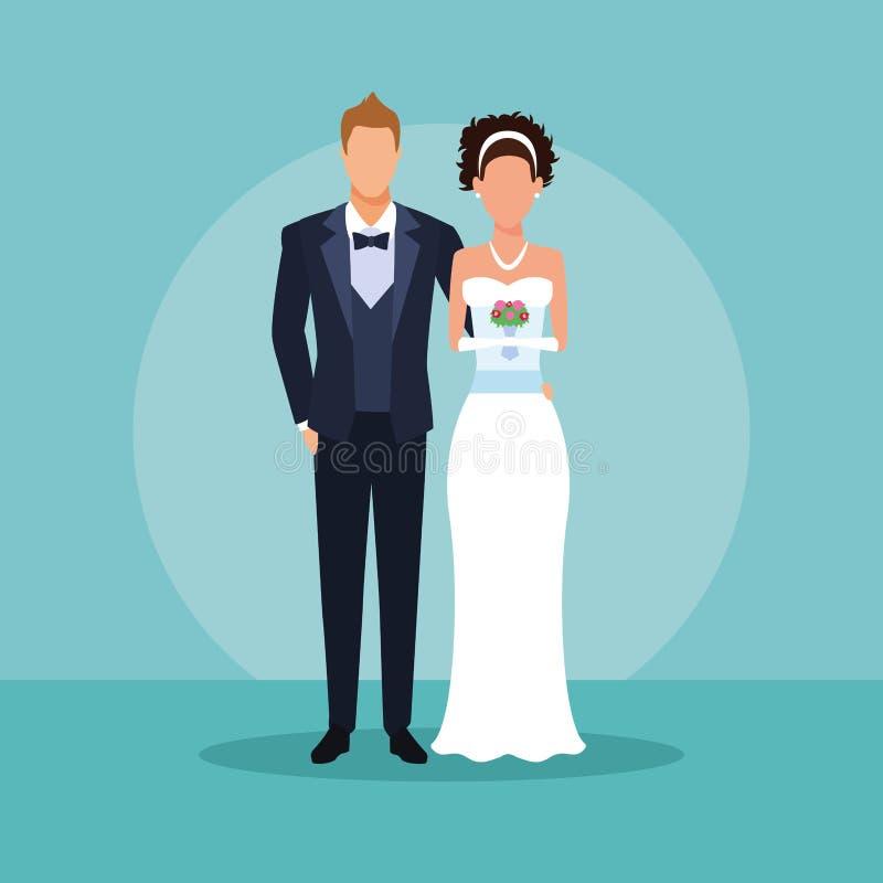 Ślubny pary przytulenie ilustracji
