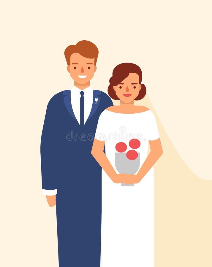 Ślubny portret śliczna szczęśliwa para młody uśmiechnięty państwo młodzi ubierał w eleganckiej odzieży Śmieszny uroczy zamężny royalty ilustracja