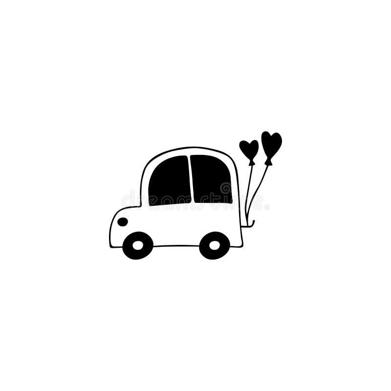 Ślubny samochodowy loga element ilustracji