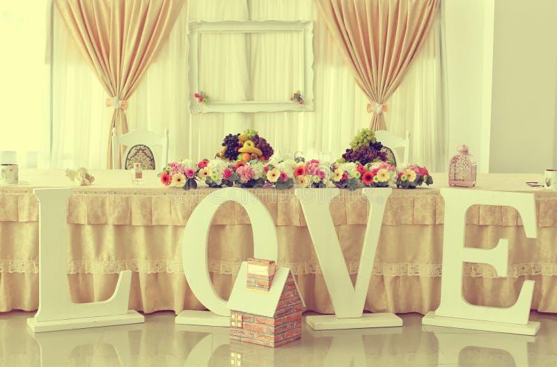 Ślubny stół z ornamentami fotografia stock