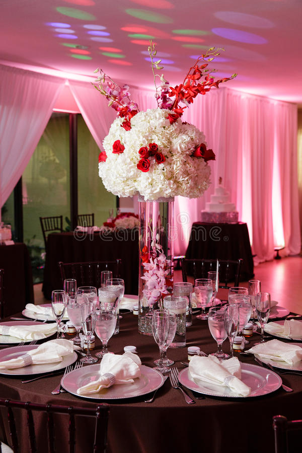 Ślubny stołowy położenie obrazy stock