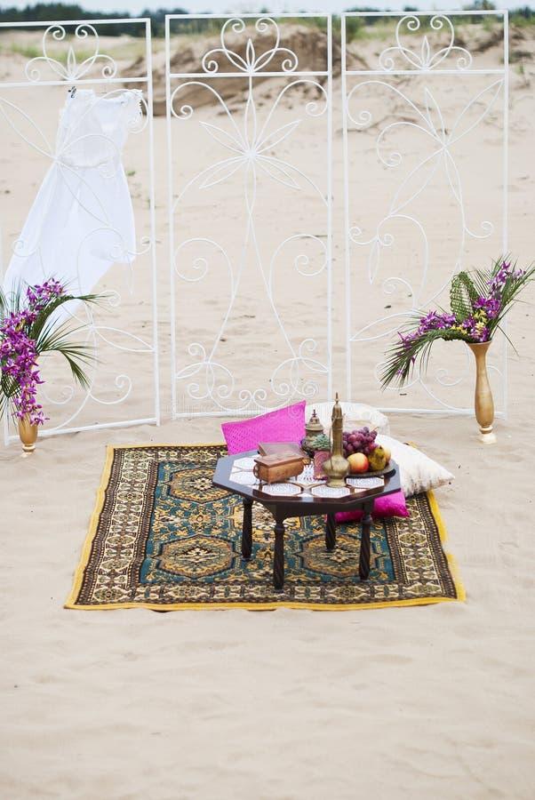 Ślubny stołowy przygotowania holu odpoczynku strefa zdjęcie royalty free
