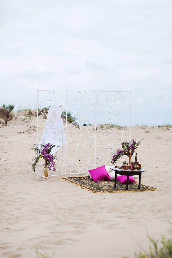 Ślubny stołowy przygotowania holu odpoczynku strefa obraz stock