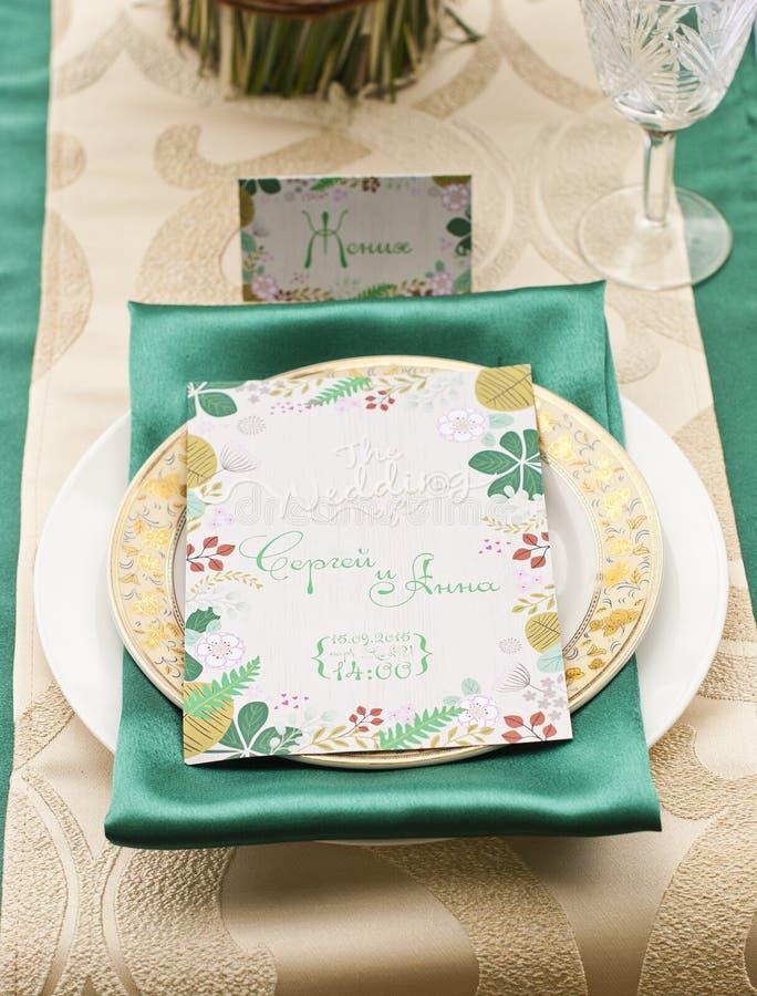 Ślubny stołowy przygotowania luksusu przełaz zdjęcia royalty free
