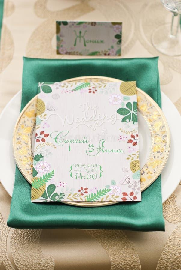 Ślubny stołowy przygotowania luksusu przełaz fotografia royalty free