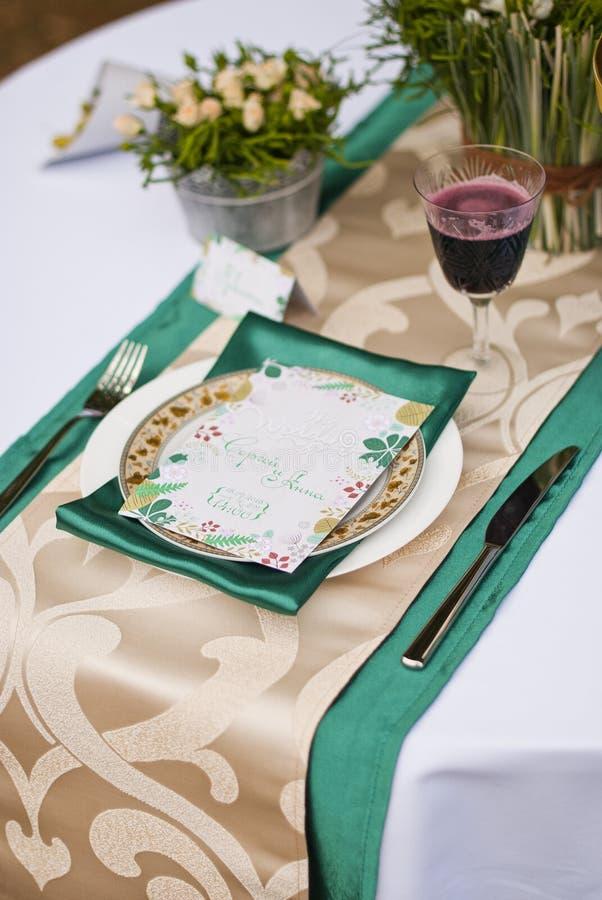Ślubny stołowy przygotowania luksusu przełaz obrazy royalty free