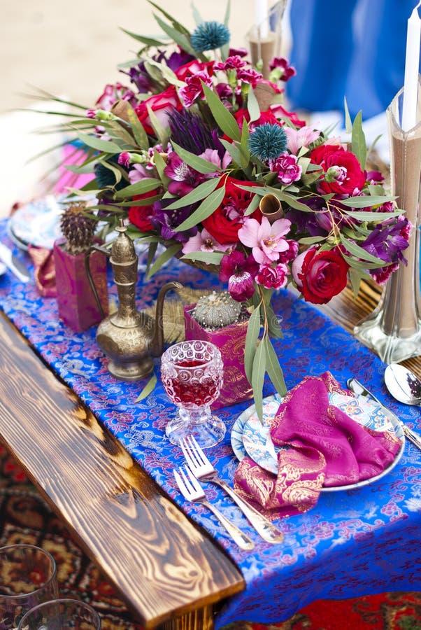 Ślubny stołowy przygotowania Maroko przełaz fotografia royalty free