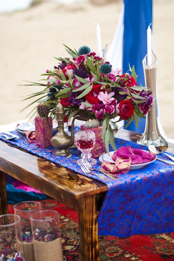 Ślubny stołowy przygotowania Maroko przełaz zdjęcie royalty free