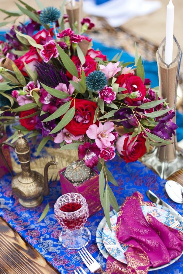 Ślubny stołowy przygotowania Maroko przełaz obraz stock