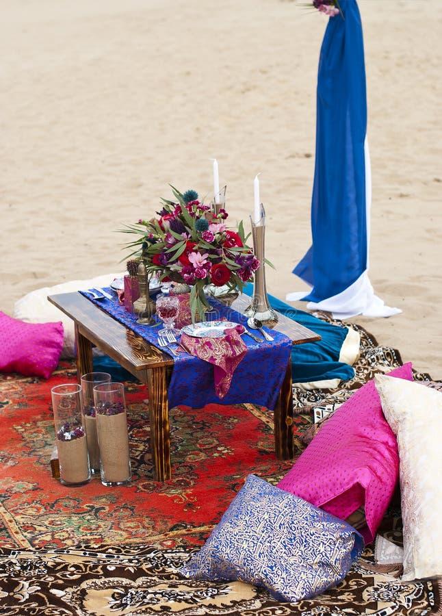 Ślubny stołowy przygotowania Maroko przełaz obraz royalty free