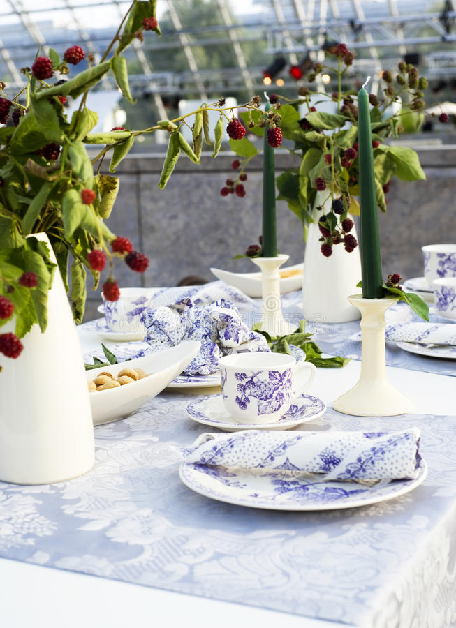 Ślubny stołowy zbliżenie obraz stock