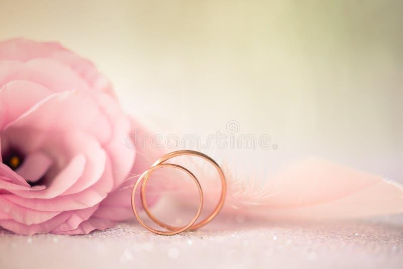 Ślubny tło z złocistymi pierścionkami i pięknym Eustoma wzrastał f obraz stock