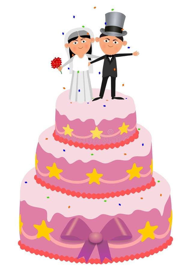 Ślubny tort ilustracja wektor
