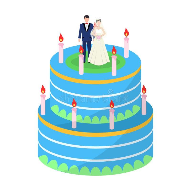 Ślubny tort Funda goście ślub Ślubna pojedyncza ikona w kreskówka stylu symbolu zapasu wektorowej ilustraci ilustracja wektor