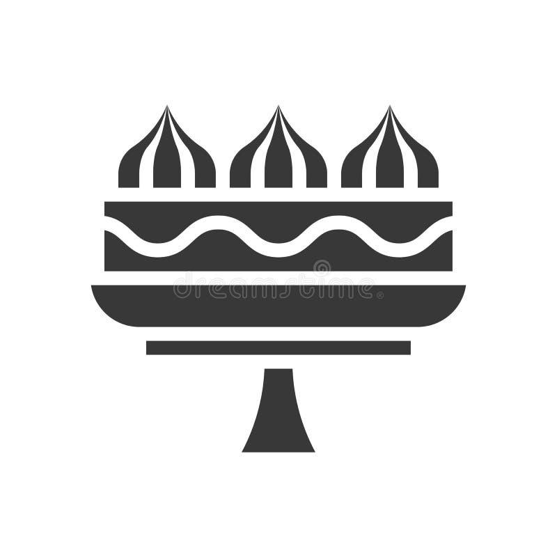 Ślubny tort lub śmietanka tort na, torta stojaku, piekarni i ciasto secie, ilustracja wektor