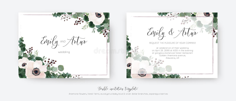 Ślubny wektor zaprasza, dwoistej zaproszenie karty kwiecisty projekt Światło - różowi anemonów kwiaty, greenery eukaliptusa gałąź ilustracji