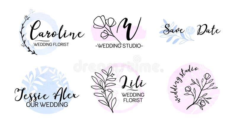 Ślubny wydarzenie planisty monograma logo set ilustracja wektor