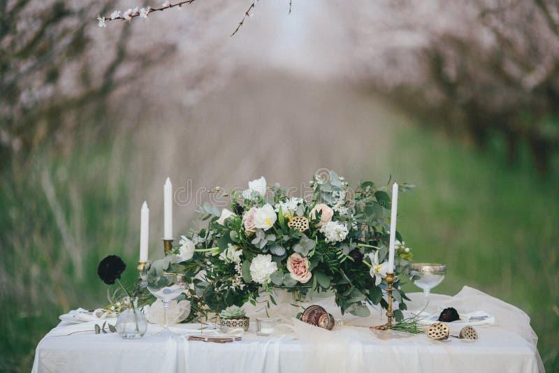 Ślubny wystroju stół zdjęcie royalty free