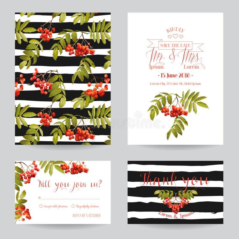 Ślubny zaproszenia lub gratulacje karty set ilustracja wektor