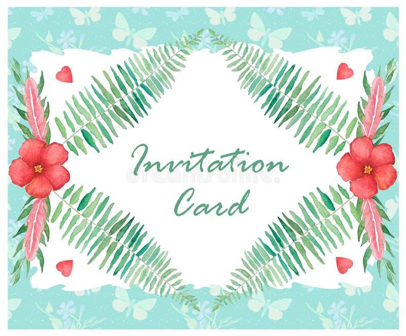 Ślubny zaproszenie, akwarela karciany projekt ilustracja wektor