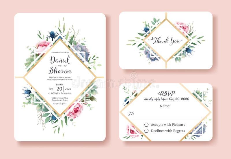 Ślubny zaproszenie, dziękuje ciebie, rsvp karcianego projekta szablon Królowa Sweden róży kwiat, liście, sukulent rośliny wektor ilustracji