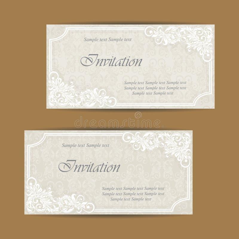 Ślubny zaproszenie i save daktylowe karty ilustracji