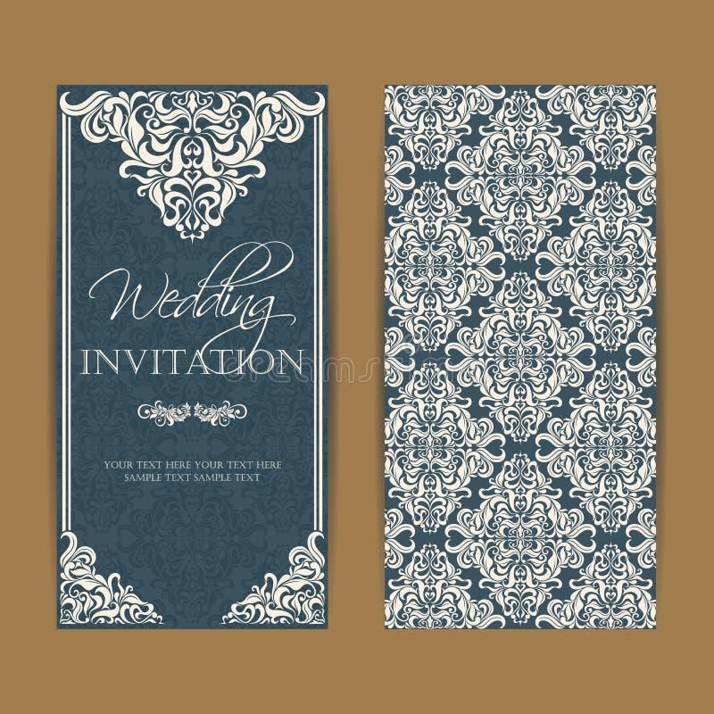 Ślubny zaproszenie i save daktylowe karty ilustracja wektor