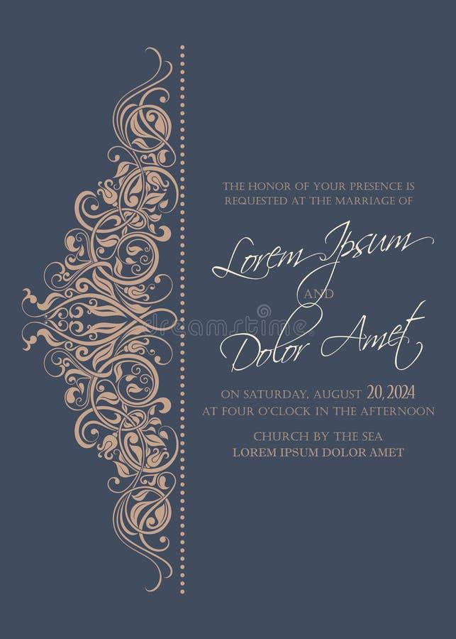 Ślubny zaproszenie i save daktylowe karty royalty ilustracja