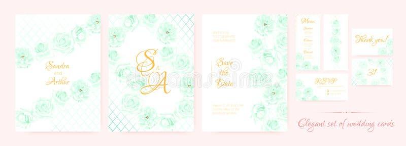 Ślubny zaproszenie, karta szablony Ustawiający ilustracja wektor
