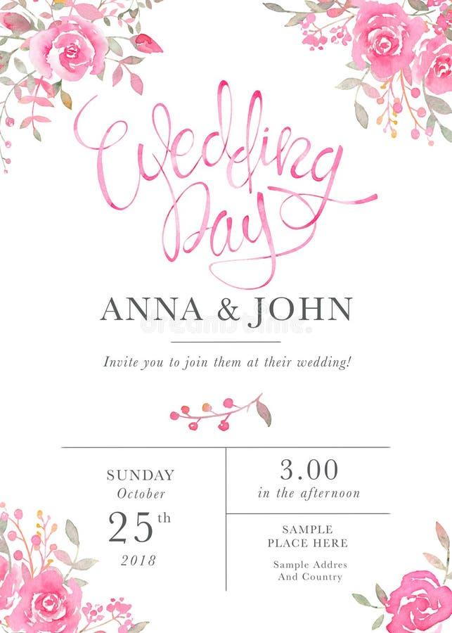 Ślubny zaproszenie karty szablon z akwarelą wzrastał kwiaty royalty ilustracja
