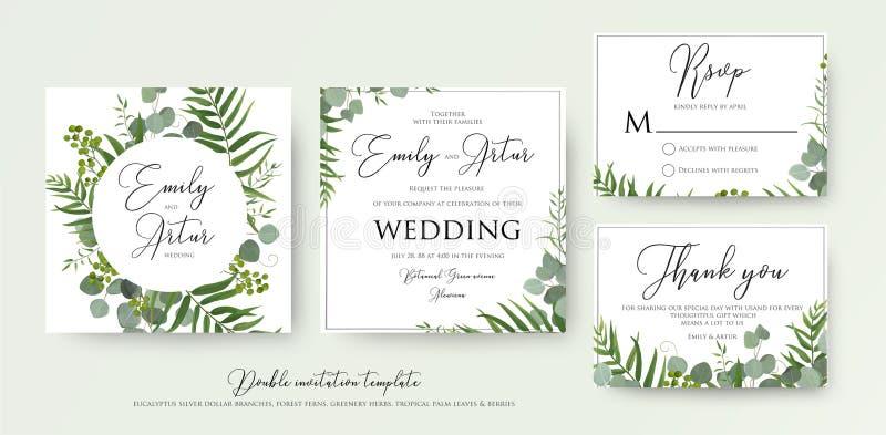 Ślubny zaproszenie, kwiecisty zaprasza, dziękuje ciebie, rsvp nowożytny karciany d ilustracja wektor