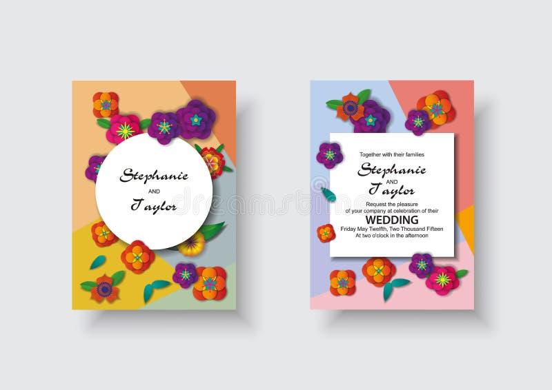 Ślubny zaproszenie, kwiecisty zaprasza dziękuje ciebie, rsvp nowożytny karciany projekt: Papierów rżnięci 3d kwiaty ilustracji