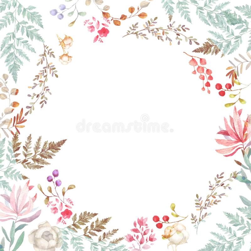 Ślubny zaproszenie, kwiecisty zaprasza kartę, różowi, kwiaty i zieleń liście geometrycznych Piękno oliwki rama kwadratowy tło bie ilustracji