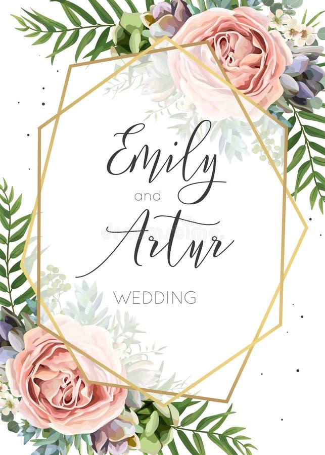 Ślubny zaproszenie, kwiecisty zaprasza, save daktylowej karty wektoru Des ilustracji