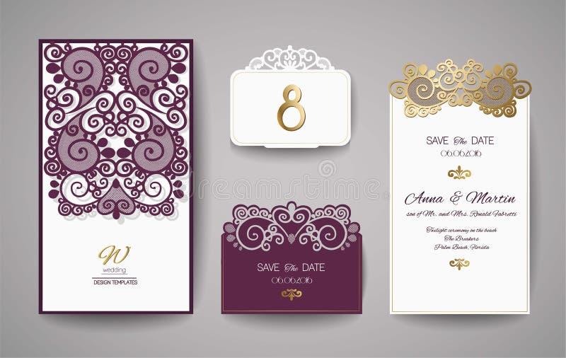 Ślubny zaproszenie lub kartka z pozdrowieniami z złocistym kwiecistym ornamentem Ślubna zaproszenie koperta dla laserowego rozcię royalty ilustracja
