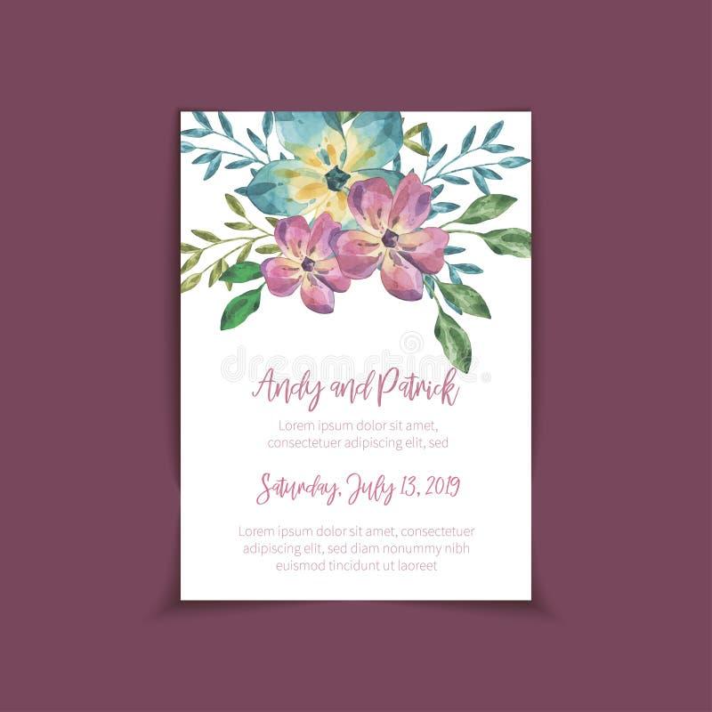 Ślubny zaproszenie oprócz daktylowego karcianego projekta, ilustracji