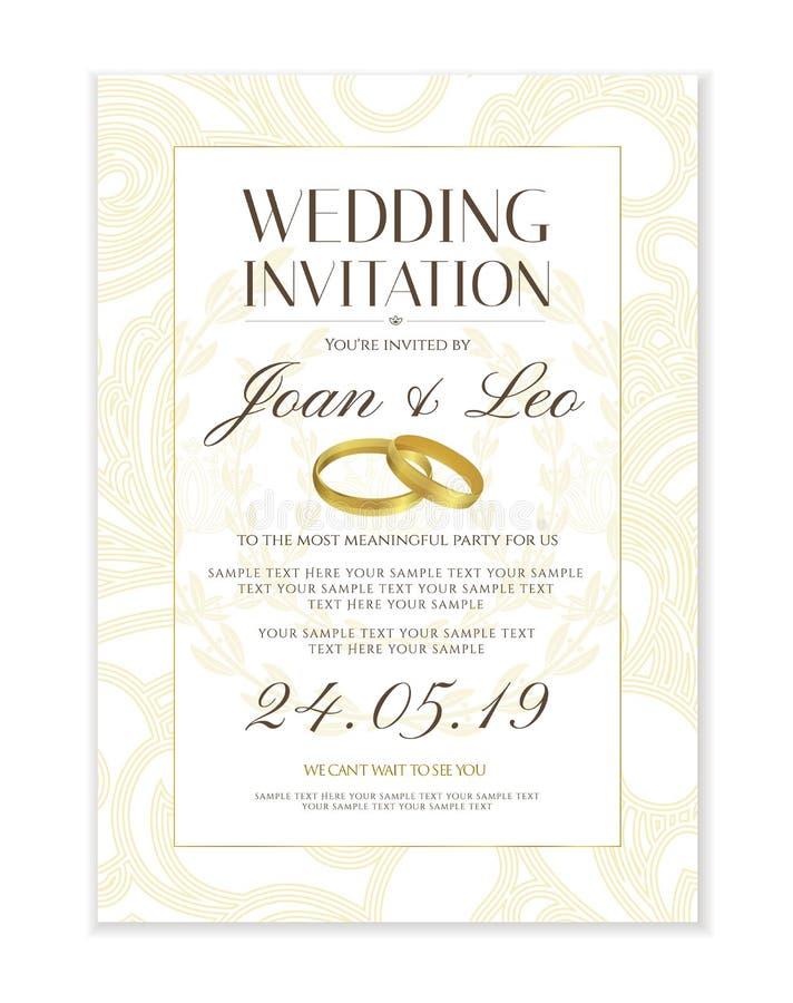 Ślubny zaproszenie projekta szablonu Save daktylowa karta Klasyczny biały tło royalty ilustracja